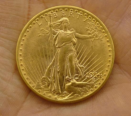 1914 D St Gaudens $20 Gold Coin