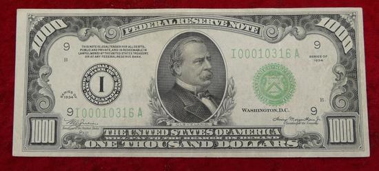 United States 1934 Series $1,000 Bill