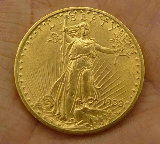 1908 St Gaudens $20 Gold Coin