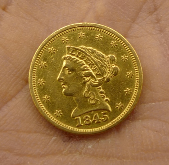 1845 US $2 1/2 Gold Coin