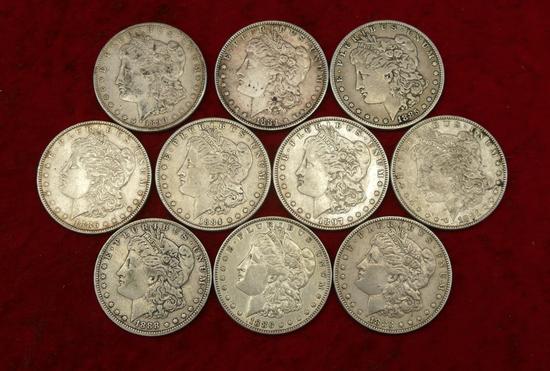 Lot of 10 Mixed Morgan Silver Dollars 1880 & 1890s