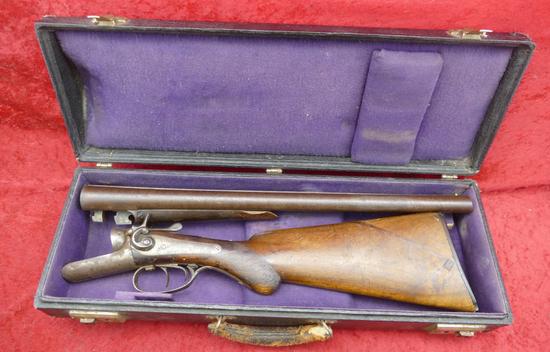 Antique Dbl Bbl Gangster Gun in Trumpet Case