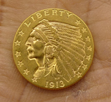 1913 US Indian Head $2 1/2 Gold Coin