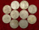 Lot of 10 US 1921 Morgan Silver Dollars