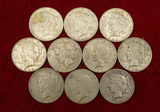 Lot of 10 1922 & 1923 Peace Silver Dollars