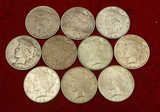 Lot of 10 Peace Silver US Dollars