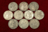 Lot of 10 Mixed Morgan Silver Dollars 1880 & 1890s