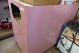 Large Pink Metal Rolling Shop Cart