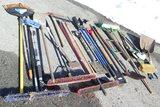 Large Lot of Shovels, Brooms, Etc