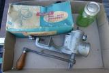 Antique Meat Grinders & Green Salt Shaker