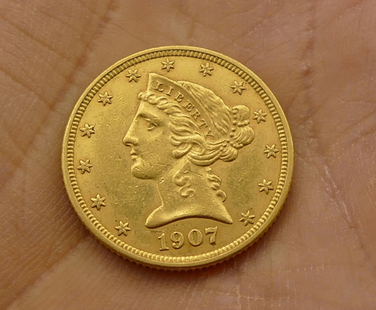 1907-D US $5 Gold Coin