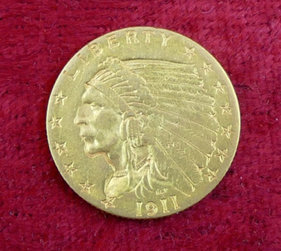 1911 US $2 1/2 Gold Coin