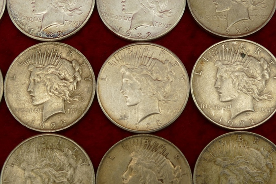 Lot of 20 Mixed Silver Peace Dollars (F)