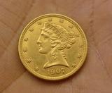 1907-D US $5 Gold Coin