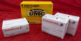 550 rds of Winchester & UMC 9mm Luger ammo