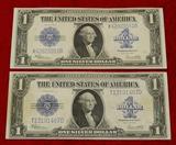 Pair of $1 1923 Series Blanket Bills