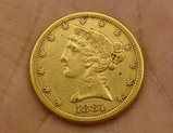 1881 US $5 Gold Coin