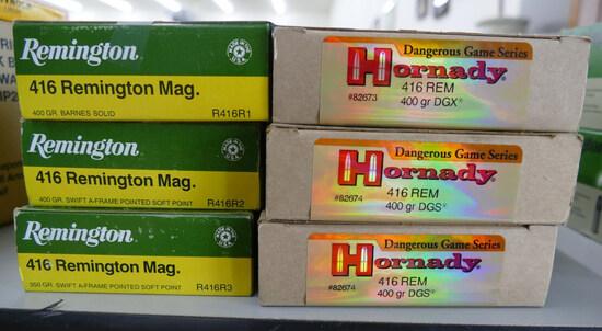 120 rds Remington & Hornady 416 REM Mag