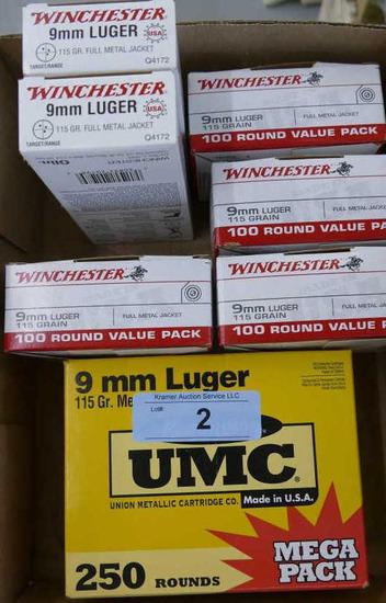 750 rds Winchester & UMC 9mm Ammo