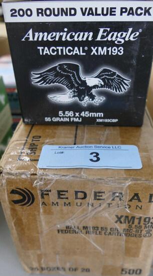 700 rds Federal American Eagle 5.56 FMJ Ammo