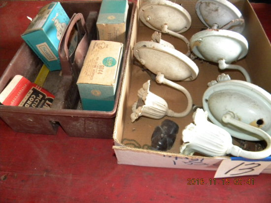 Five Antique Wall Fixtures; 2 Ceiling Receptacles And More.