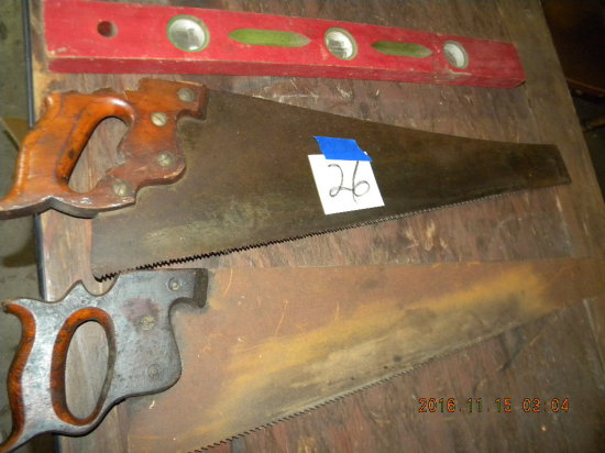 "Lot= 24"" Wood Level; Pair Of Hand Saws."