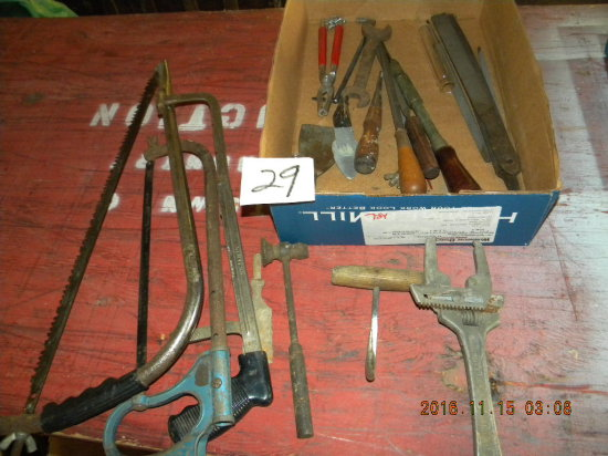 Lot= Wood Rasps; Meat Hook;' Expansion Wrench; Hack Saws, Limb Saw And More