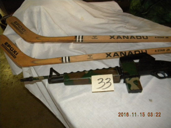 Crossman Bb Gun,camouflage; Pair Of Xandu Hocky Sticks, Epoxiends.