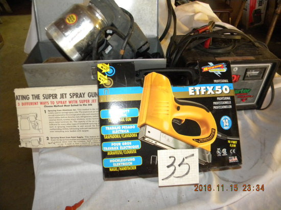 Tools= Electric Super Paint Gun W/metal Box; Sears Battery Charger W/start