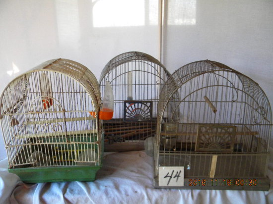 Lot= Three Bird Cages; Small Animal Cage W/ Accessories.