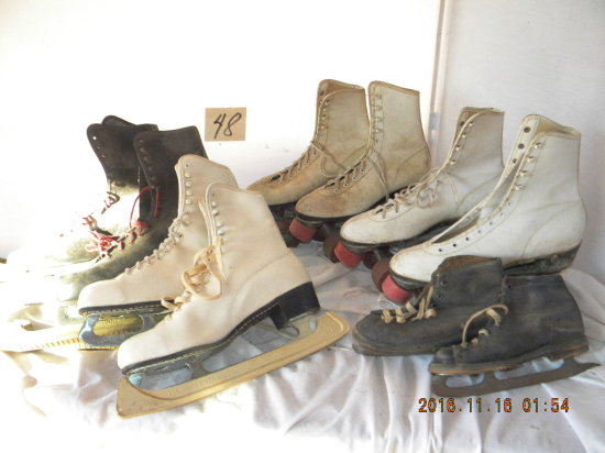 Antique Childs Ice Skates And Other Skates.