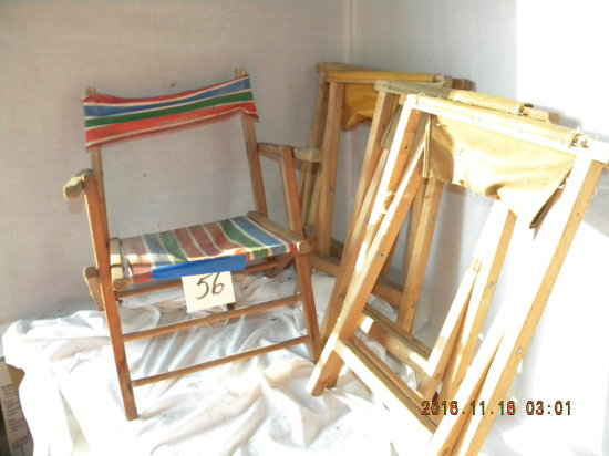 Four Folding Camp Stools; Antique Childs Beach Chair; Wood Boot Cleaner; Wo