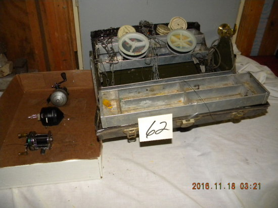 Fishing= 1932 Metal Tackle Box W/contents; Reels= Shakespear 1767; Marhaff'