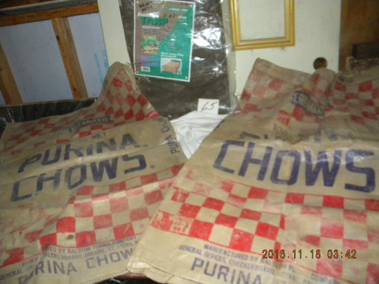 "Pair Of Purina Feed Bags, 25"" X 37""; Tarp 5' X 7'."