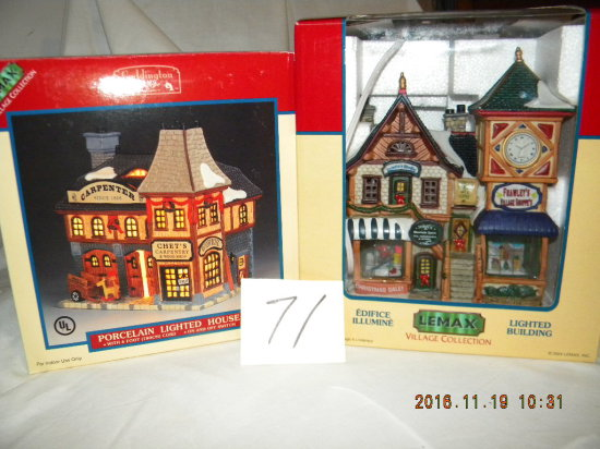 "Lemax Porcelain Village Collection= ""chets Carpentry""; ""frawley's Village S"