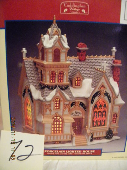 "Lemax Porcelain Village Collection= "" St. Gabriel Church"", 9 1/2""h X 7"" L"