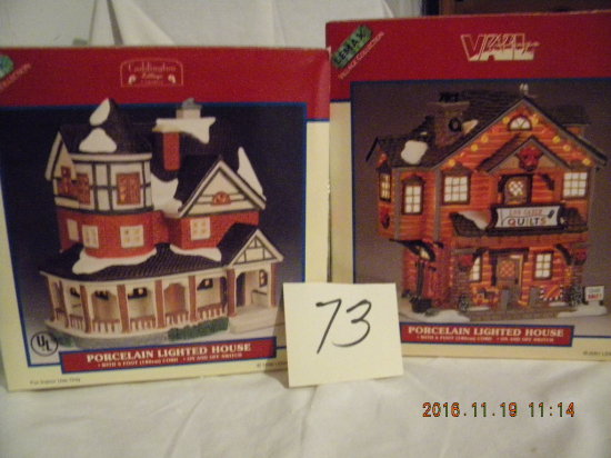 "Lemax Porcelain Village Collection= ""log Cabin""; ""lighted House W/porch"", 6"