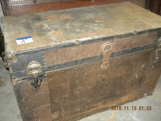 "Cargo Trunk, W/tray, Wood Base With Steel Cover, 25""h X 40""w X 21""d."