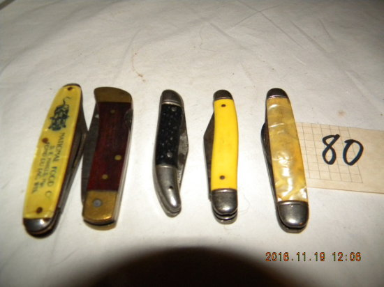 Pocket Knifes= Ad-knife, National Food, Wi, 2 Blade; Frontier Dougle Eagle,
