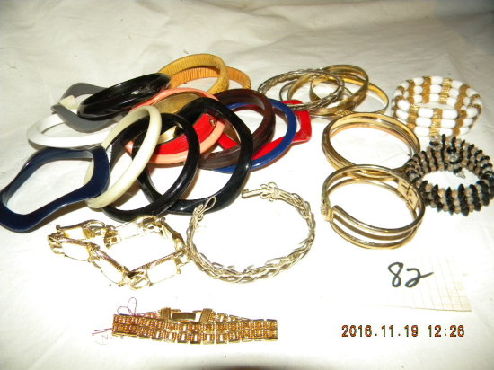 Jewelry= Large Bag Of Bracelets, Some Marked.