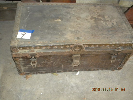 "Military Foot Locker, W/tray, 12 3/4""h X 31""w, X 17""d, Name=lt. O.R. Brunko"
