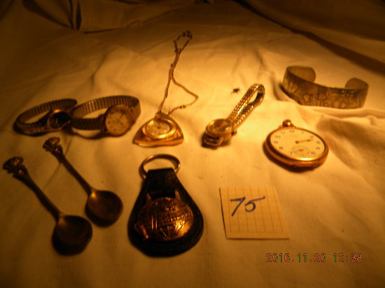 Jewelry = 2 Travlel Spoons; 3 Wrist Watches; Necklace Watch; Ladies Pocket