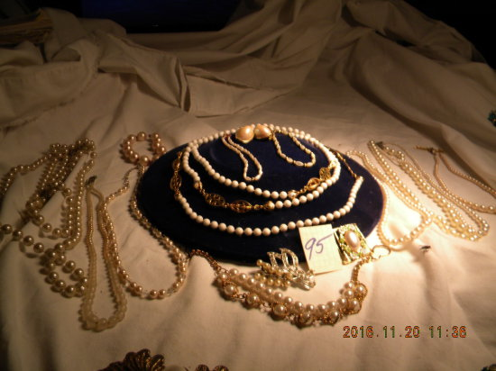 Jewelry = 8 Necklaces (some Pearls); 3bracelets; 1 Dress Pin; Hair Pin; Pai