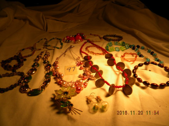 Jewelry = 4 Necklaces; 2 Pair Ear Rings; 12 Bracelets; 1 Pr. Clasp Ear Ring