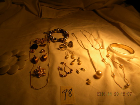 Jewelry = 3 Bracelets; 9 Ear Rings; 4 Necklaces; Stork Dress Pin.
