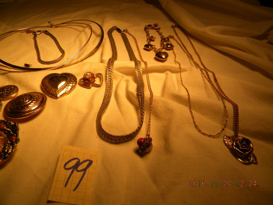 Jewelry = 10 Necklaces; Pair Bracelets; Pair Ear Rings; Pair Scarf Pins; 3