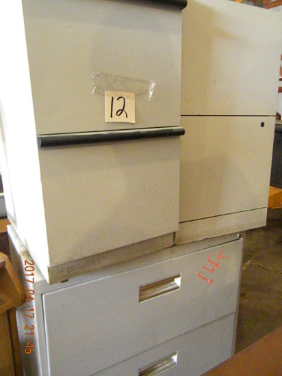 File Cabinets, (2) 2 Drawer, 1 4 Dwr., Metal