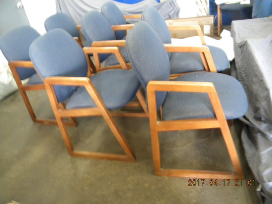 27=, Arm, Office Chairs, Wood Frames, Fabric Back And Sign.