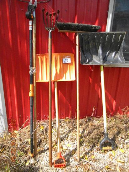Lawn Tools: Rake, Trimmer, Cultivator, Snow Shovels.