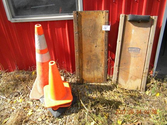 Pair Of Automotive Creepers; 6 Caution Orange Cones.
